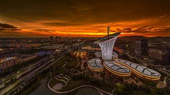 城市夜景火烧云科技建筑图片