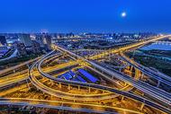 城市发展建设立交桥夜景图片