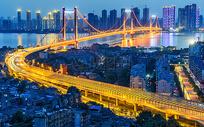 长江大桥夜景图片