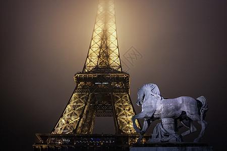 夜色中埃菲尔铁塔图片