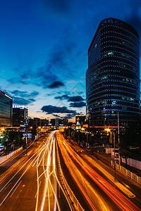 城市车流夜景图片