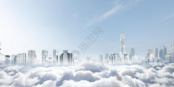 云层之上的建筑物图片