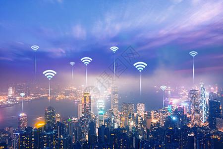 城市高楼大厦中建立wifi无线互联网通信图片