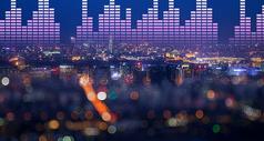 梦幻夜幕下带音乐节奏的城市图片