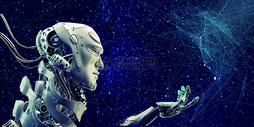 蓝色人工智能机器人科技背景图片