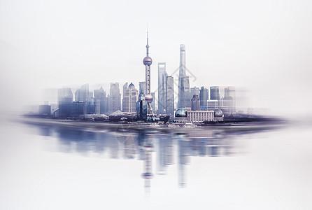 上海陆家嘴金融建筑画报感图片