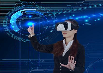 商务人像女性与科技图片
