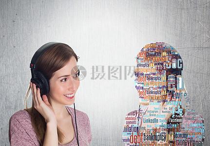 智能科技生活带耳机的女孩图片