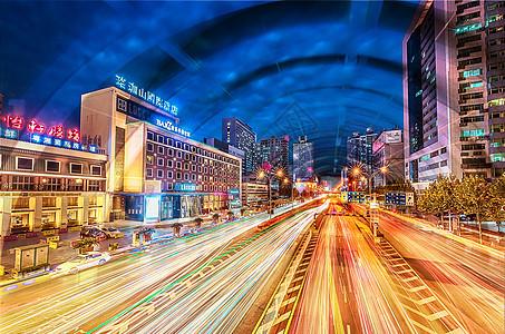 科技城市夜景光速隧道图片