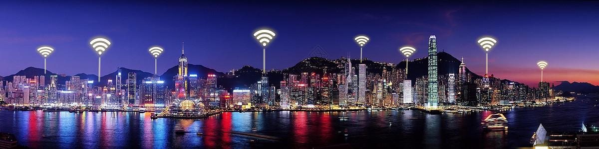 城市夜景wifi科技图片