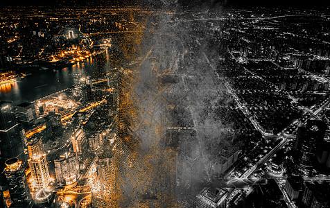 城市色彩被逐渐褪去失去颜色图片