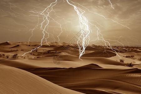 沙漠中的闪电风暴图片