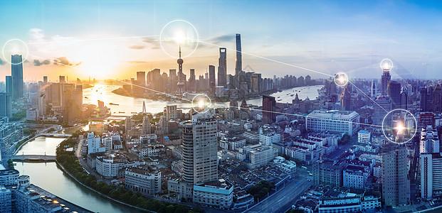城市科技上海黄浦江外滩陆家嘴日出全景图片