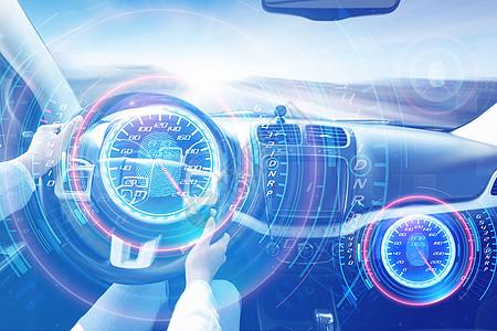 智能科技时代前进的汽车内部图片