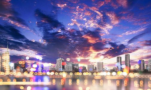 灯火阑珊城市夜景图片