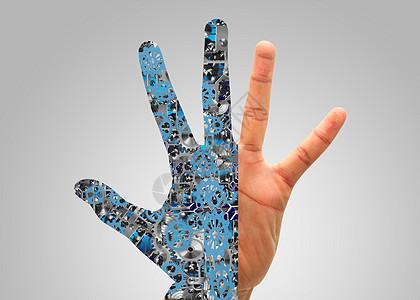 智能科技时代手指上的齿轮连接图片