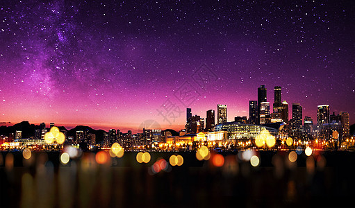 星河下的城市图片