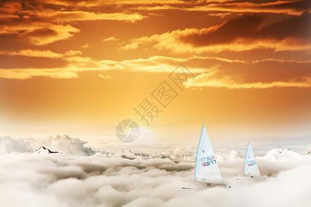 云端里的帆船图片
