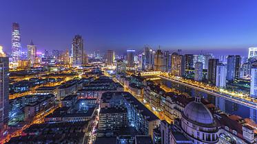 夜晚的天津城市灯光图片