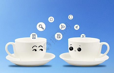 相约喝咖啡洽谈业务图片