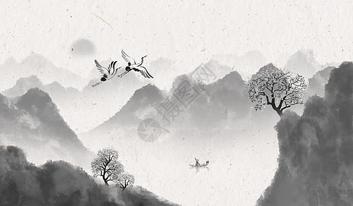 山水中国风banner海报背景图片