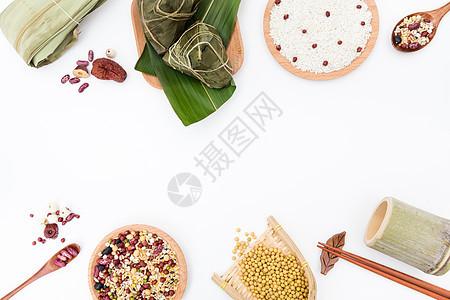 端午粽子食物配料桌面摆拍白色背景图片