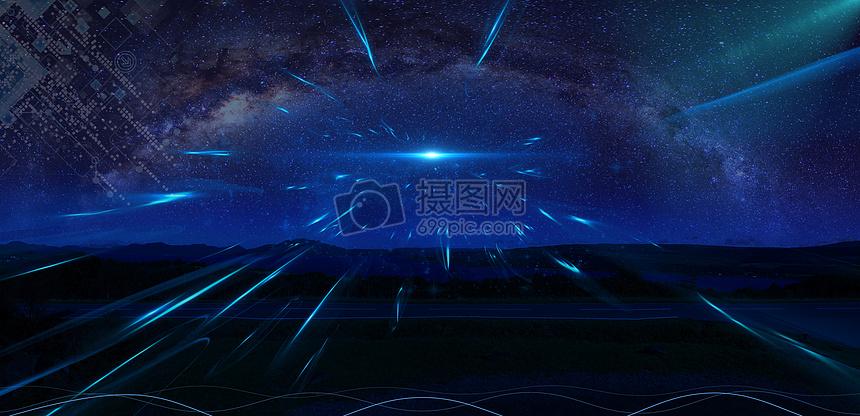 科技星空banner海报背景图片