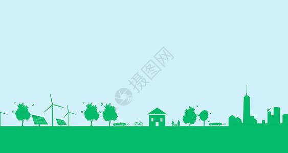 绿色卡通几何城市与自然图片