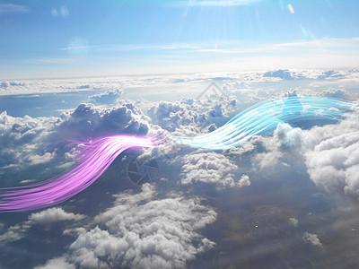 云上彩带图片