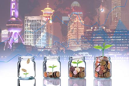 夜间城市前的发芽钱币图片