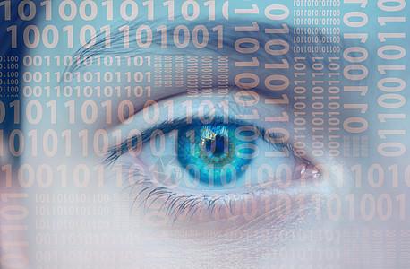 智能科技生活二进制下的眼睛图片