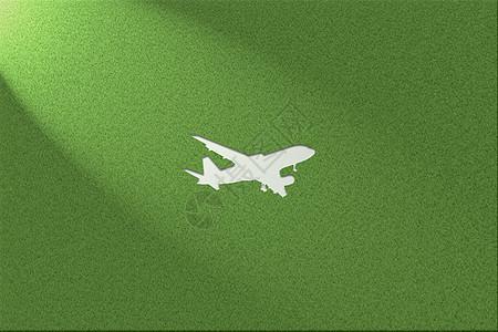 绿色环保健康草地背景飞机图片