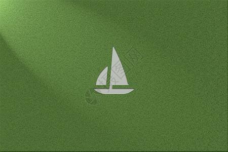绿色环保健康草地背景轮船logo图片