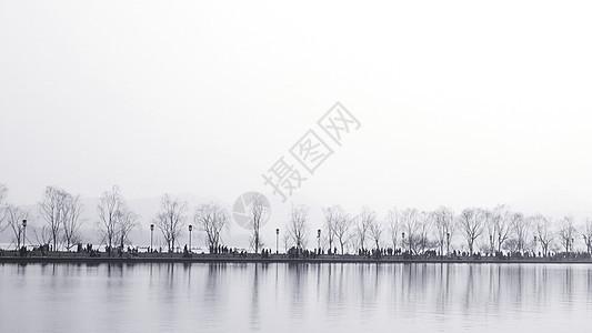 杭州黑白水墨西湖图片