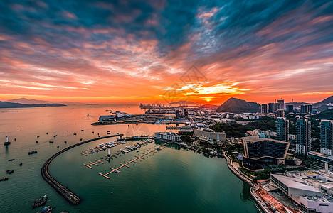 深圳海港醉美夕阳红图片