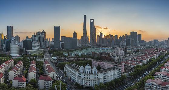 上海浦东陆家嘴日落全景图图片