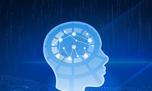 商务科技网格质感大脑运算图片