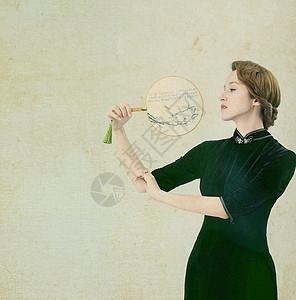 中国风工笔画旗袍美女图片