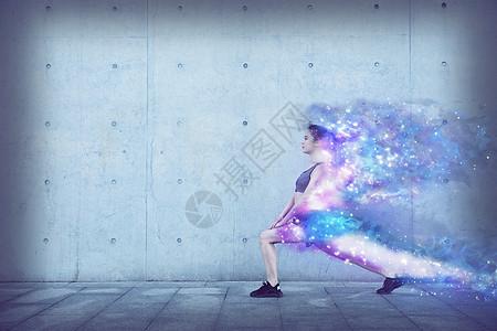 运动健身美女燃烧蜕变成星河图片