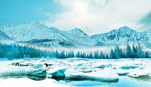 冬天冰雪banner背景图片