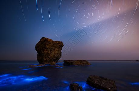 星空星轨银河荧光海图片
