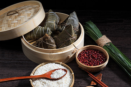 端午节美食粽子食材图片