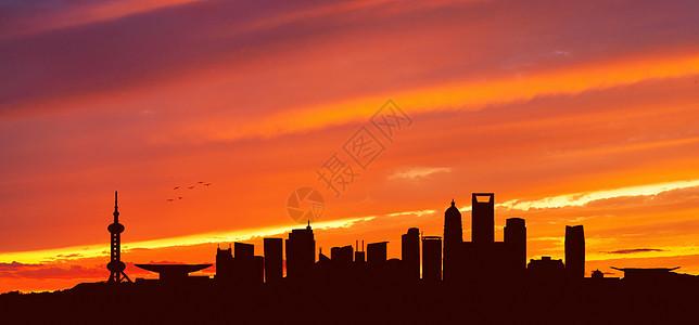 火烧云下的城市图片