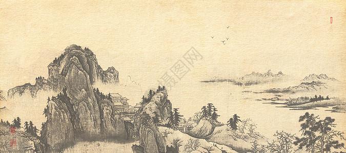 复古山水水墨画图片