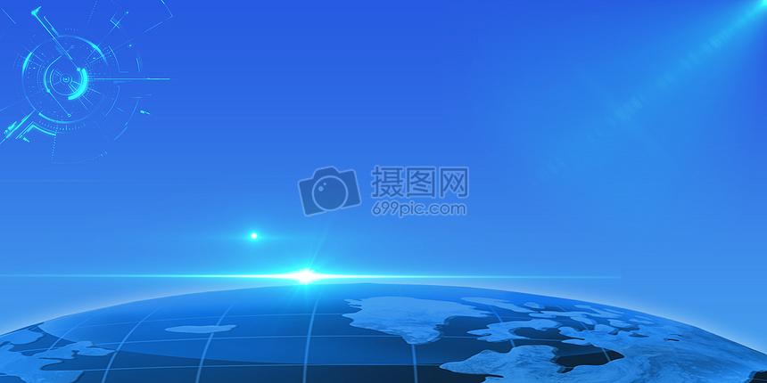 蓝色banner海报背景图片