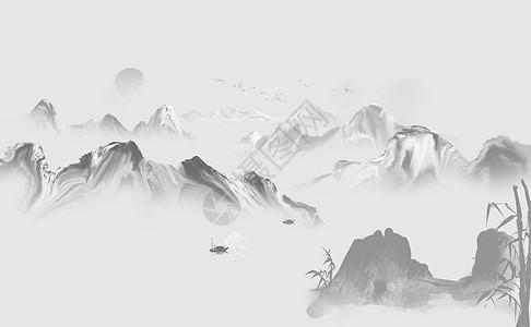 中国水墨风山水画图片