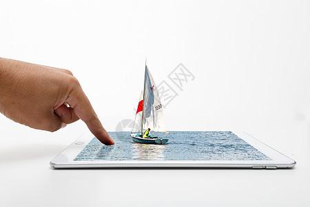 海上帆船和IPAD 图片