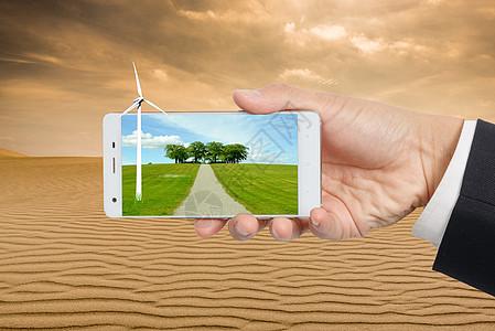 虚拟现实科技智能手机中的草原图片
