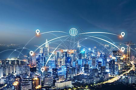 城市线条下的无线信号图片
