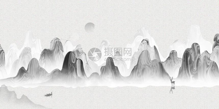 水墨竹林山水banner背景图片